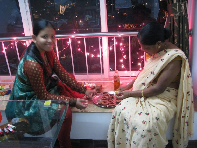 Ma and Me , preparing the diya's